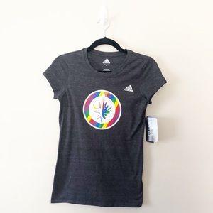 Winnipeg Jets NHL Adidas Pride Rainbow Tee Shirt
